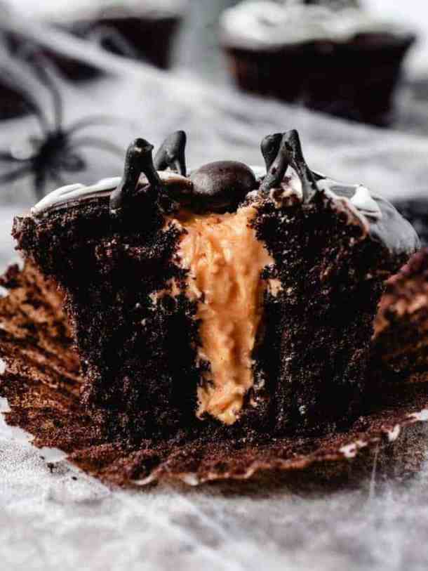 Image of halloween spider cupcake with orange filling