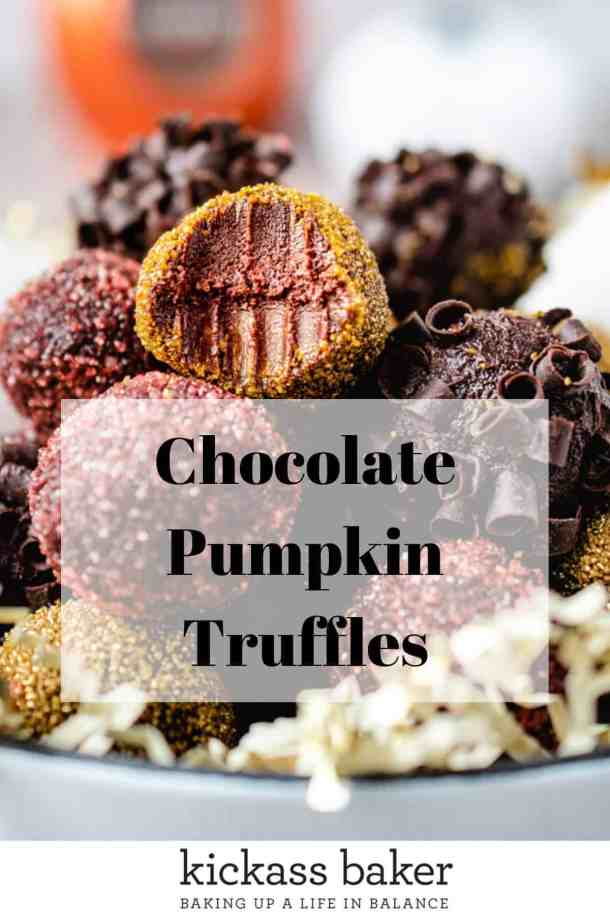 Chocolate Pumpkin Truffles | kickassbaker.com pin for Pinterest w text overlay