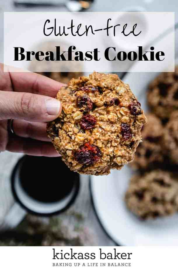 Healthy Gluten-free Breakfast Cookie | kickassbaker.com pin for Pinterest w text overlay