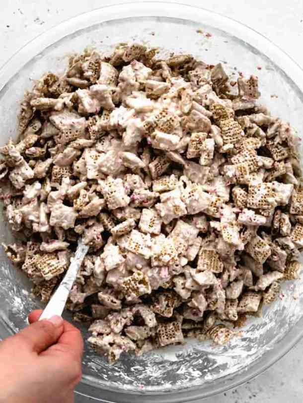 overhead of mixing peppermint puppy chow