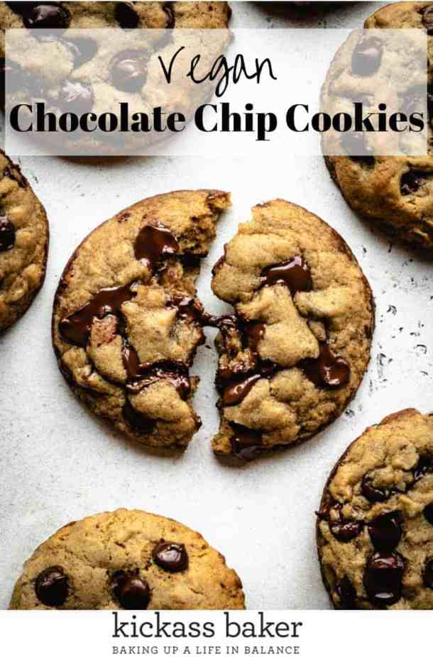 Vegan Chocolate Chip Cookies | kickassbaker.com pin for pinterest with text