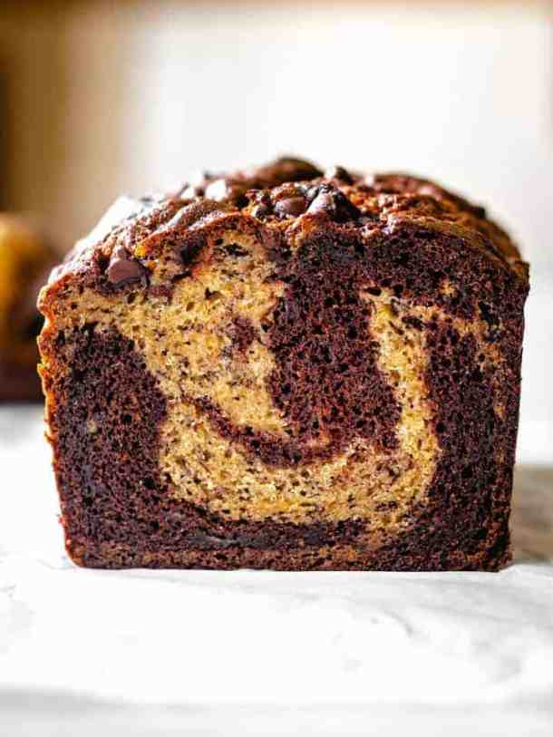 sliced marbled chocolate banana bread