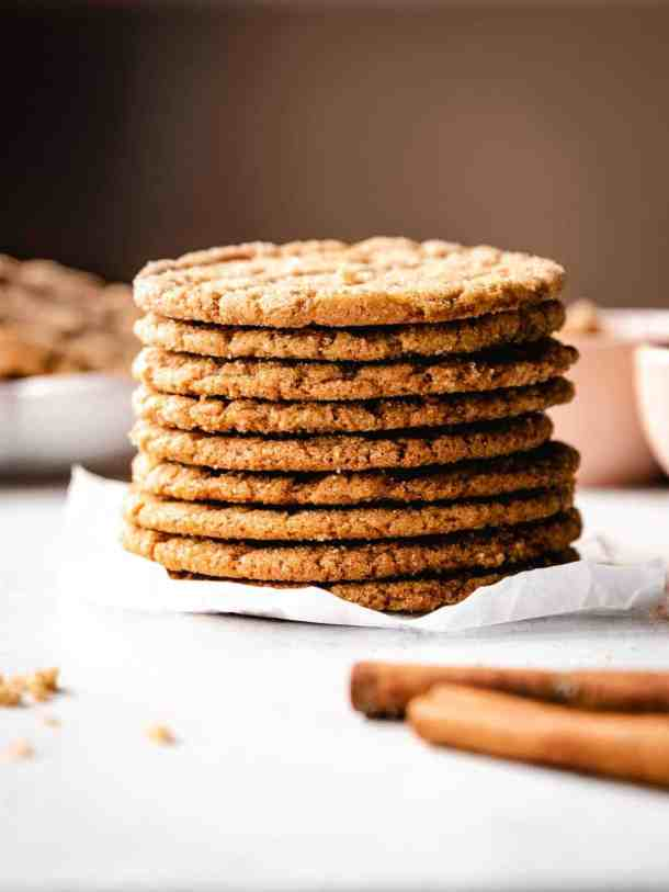 close up of a large stack of brown sugar cookies