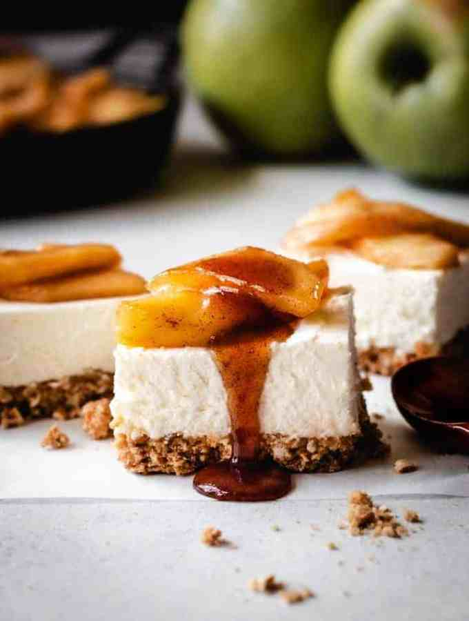 caramel apple cheesecake squares