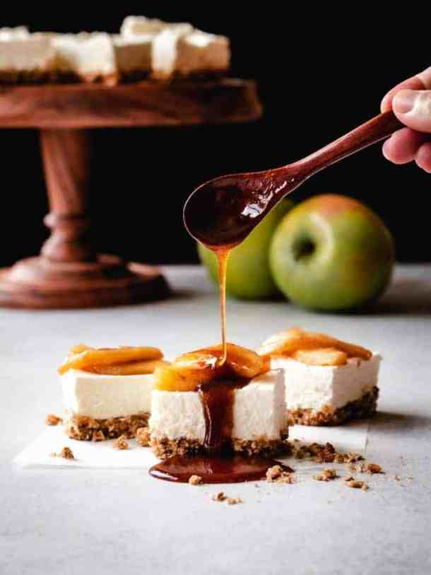 topping cheesecake squares with caramel