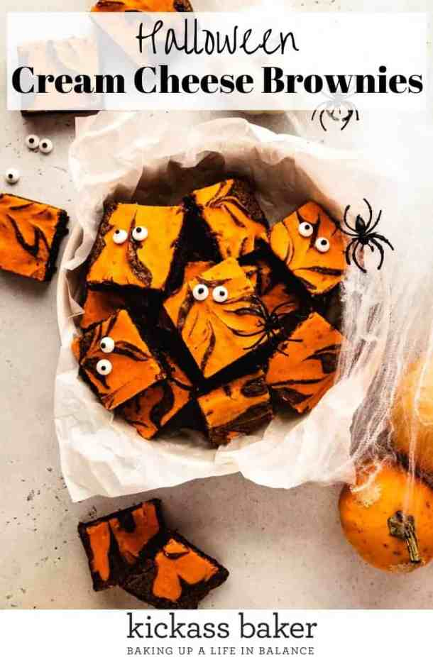 Halloween Cream Cheese Brownies | kickassbaker.com pin for pinterest with text 5