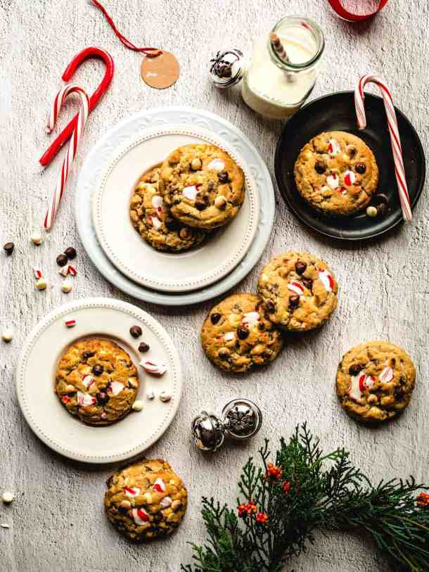 white chocolate peppermint cookies with Christmas decorations