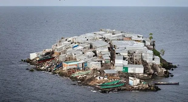 Migingo Island, Lake Victoria, claimed both by Kenya and Uganda-Most Densely Populated Places on Earth