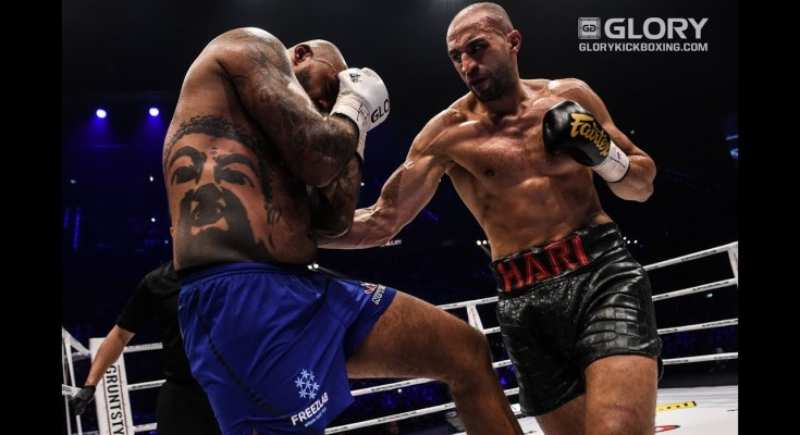 Hari punches Gergy to the body at GLORY 51