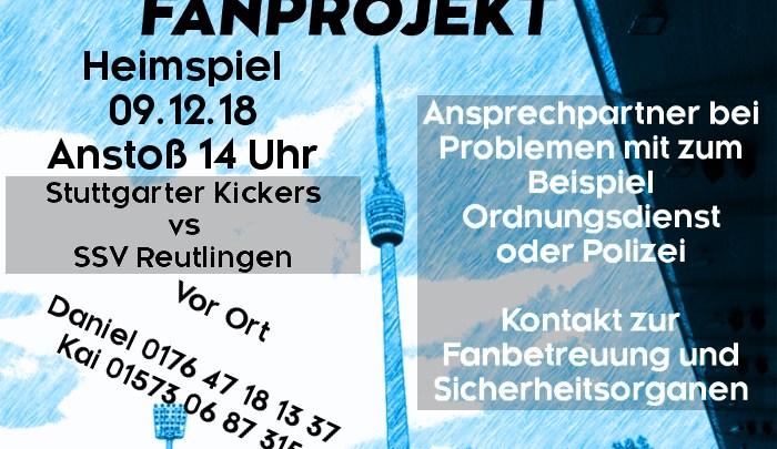 Heimspiel am Sonntag, 09.12.2018, um 14 Uhr gegen SSV Reutlingen