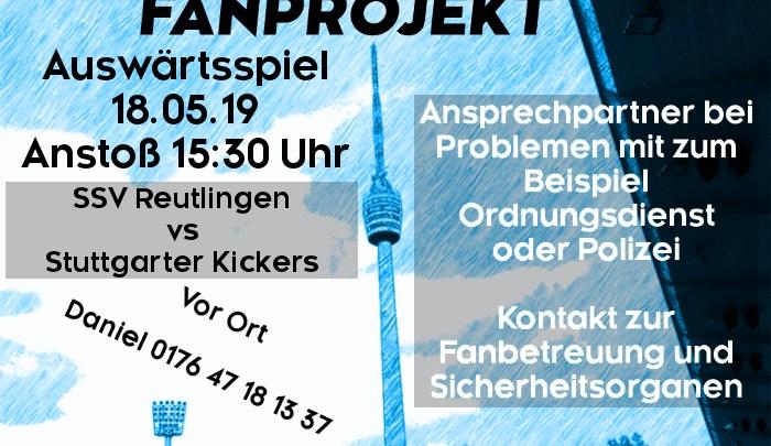 Auswärtsspiel am Samstag, 18.05.2019, um 15:30 Uhr gegen SSV Reutlingen