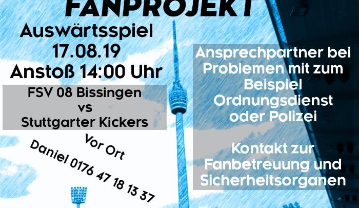 Auswärtsspiel am Samstag, 17.08.2019, um 14 Uhr gegen FSV 08 Bissingen