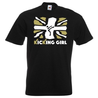 British Kicking Girl 10KG-Gold-and-white-on-black-shirt