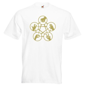 Rock Paper Scissors Spock G2 gold-on-white-Tshirts