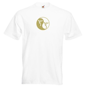 Yin Yang Martial Art T-Shirt-gold-on-WHITE-7R
