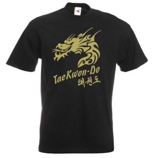 Taekwondo Dragon style-17-gold-on-white-shirt