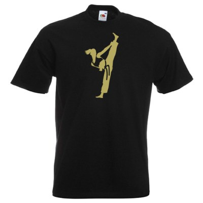 Ideal for Female Martial Artist style-4R-gold-on-black-shirt