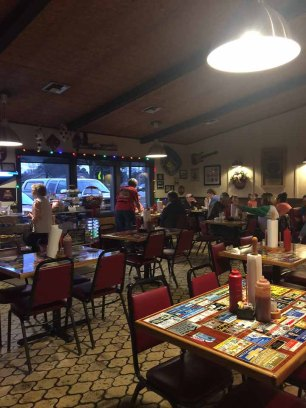 The dining room at Johnny's BAR-B-Q