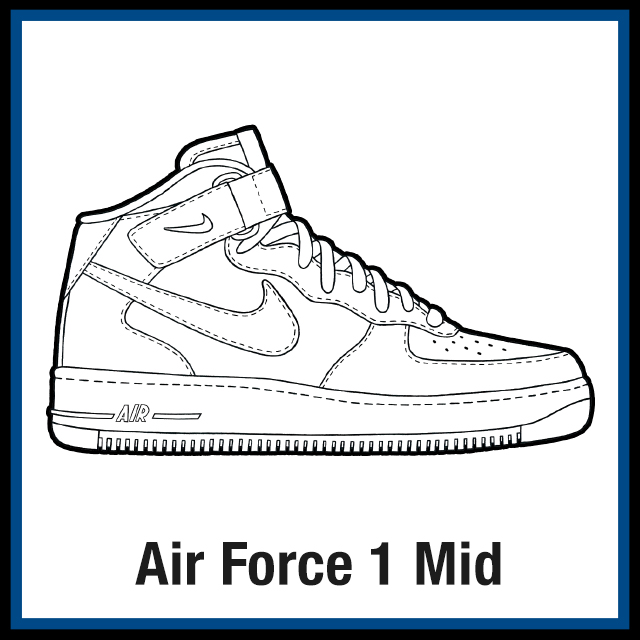 Nike Air Force 1 Mid Sneaker Coloring Pages Created By Kicksart