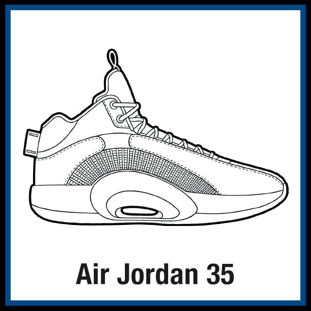 Air Jordan 35 Sneaker Coloring Pages - Created By KicksArt