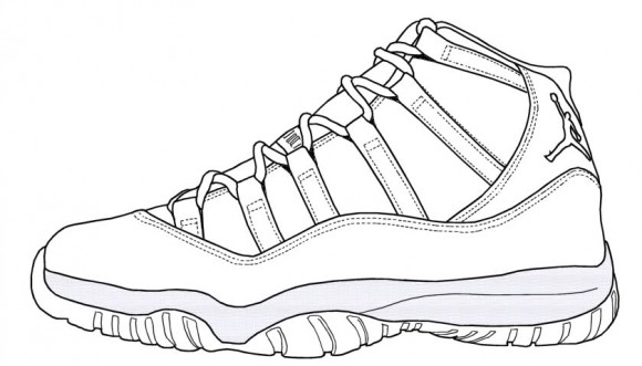 Blue Air Jordan Retro 11 Drawing Legend Sketch Coloring Page