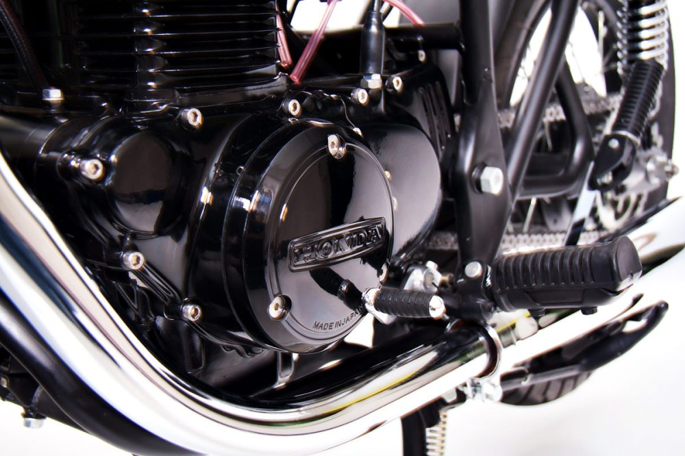 medium resolution of everything on the cb s been refurbished in some way the engine s been blasted and coated in a deep black along with the wheels which were stripped and