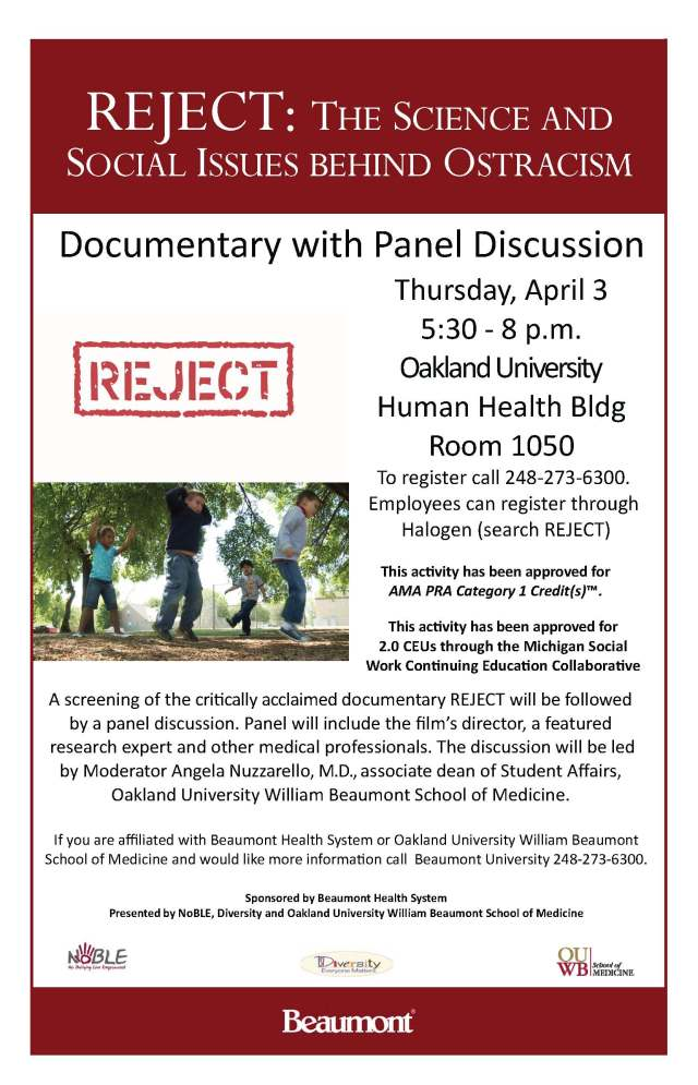 Flyer for screening of Reject