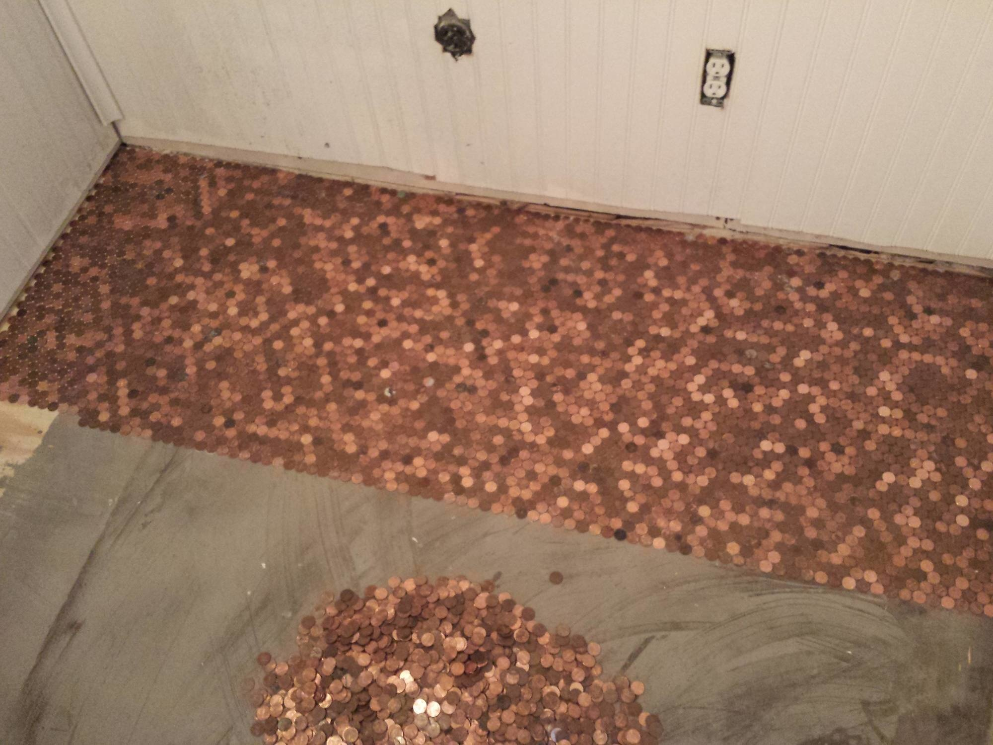 He Made An Awesome Penny Floor Out Of Old Pennies You Can