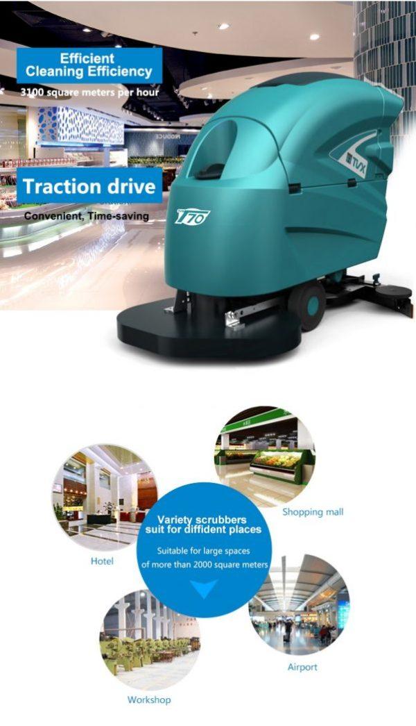 TVX T70 Traction Drive Walk Behind Scrubber Dryer – T70/65BT