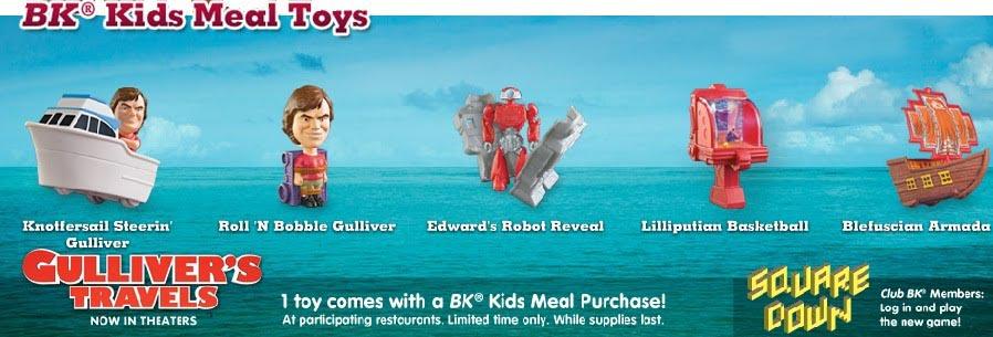 Burger King Jr Meal Toys 2010 Gullivers Travels Kids Time