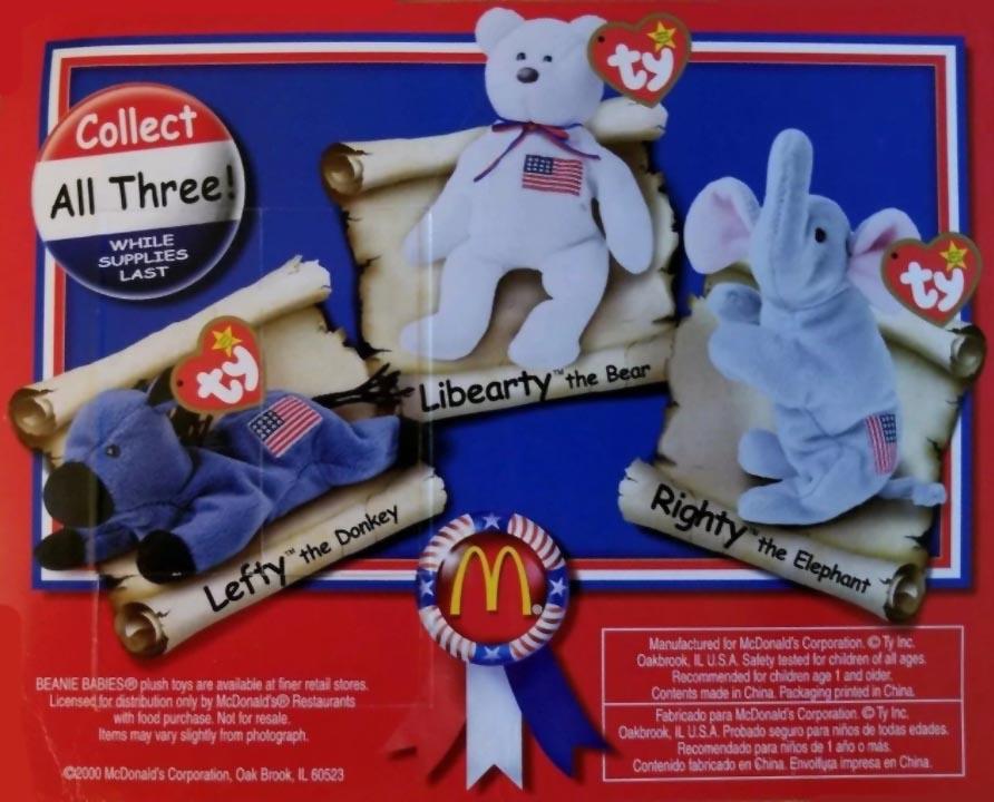 McDonald s Happy Meal Toys 2000 – American Trio Teenie Beanie Babies ... 7fc77beed8bd
