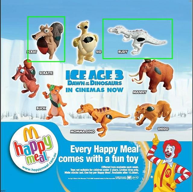 Toys From Ice Age 1 : Mcdonald s happy meal toys ice age dawn of the