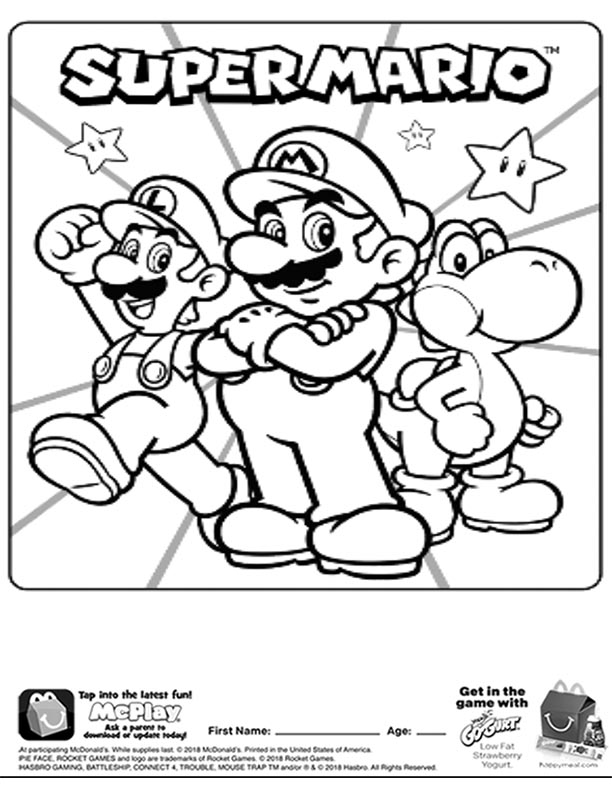 Mcdonalds Happy Meal Coloring Page And Activities Sheet Super