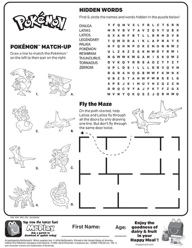 McDonalds Happy Meal Coloring and Activities Sheet – Pokemon 2018 ...