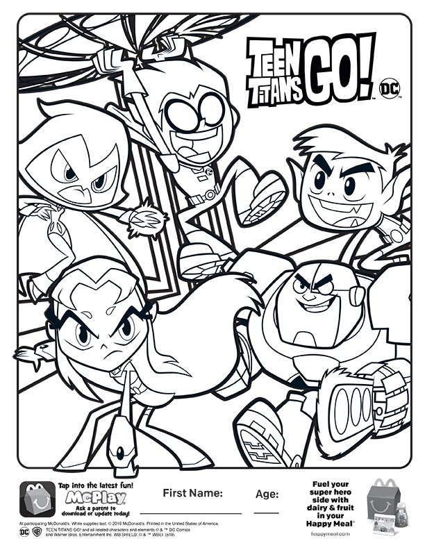 McDonalds Happy Meal Coloring Sheet – Teen Titans Go! – Kids Time
