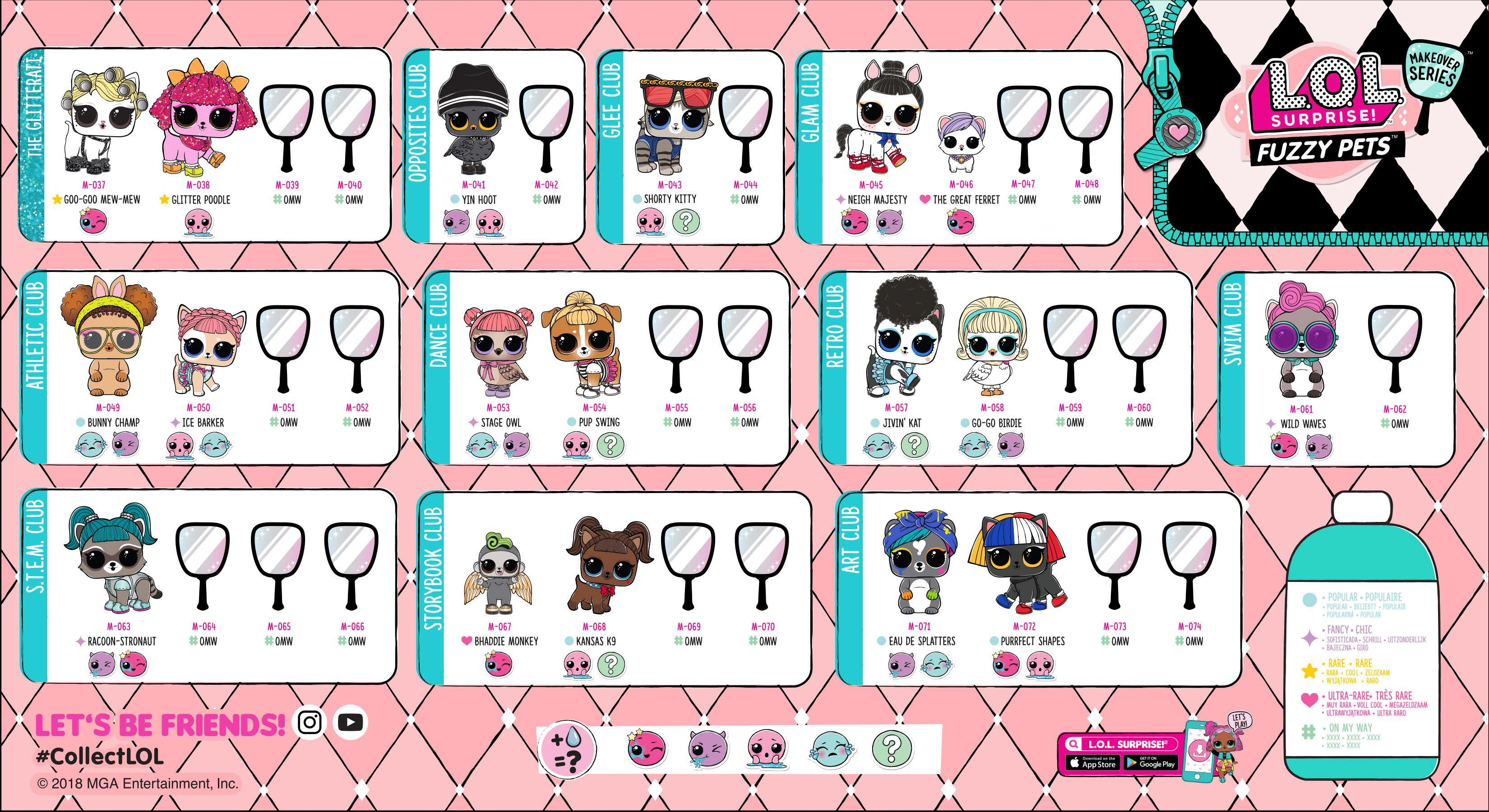 Lol surprise makeover series 5 collector guide list fuzzy pets checklist insert