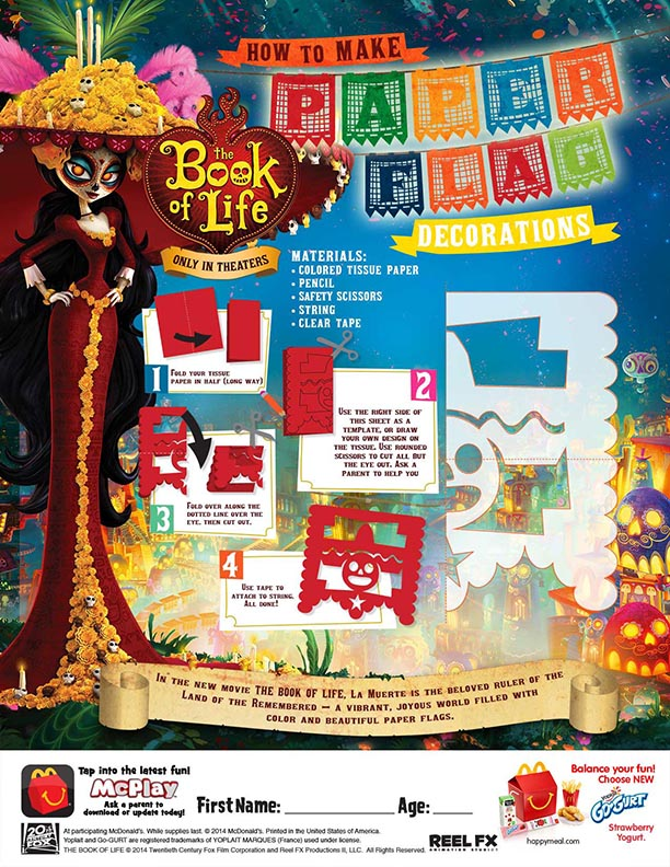Book Of Life Paper Flag Mcdonalds Happy Meal