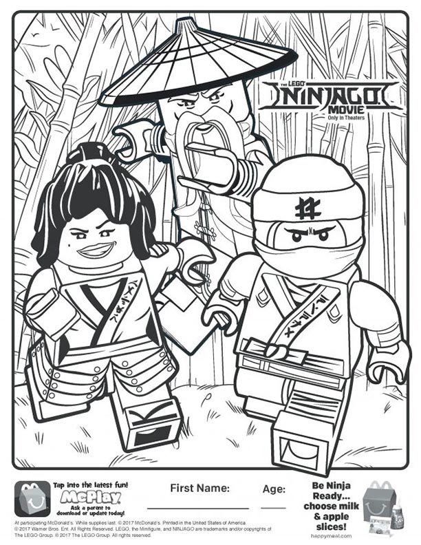 Mcdonalds happy meal coloring and activities sheet lego for The lego ninjago movie coloring pages