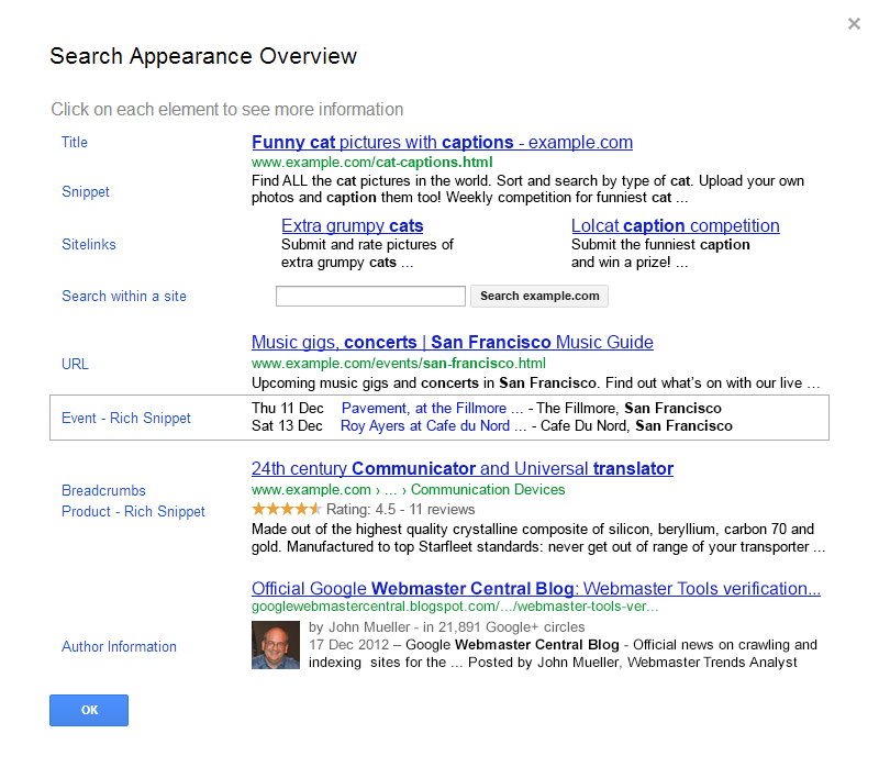 Google Webmasters Explains Search Appearance