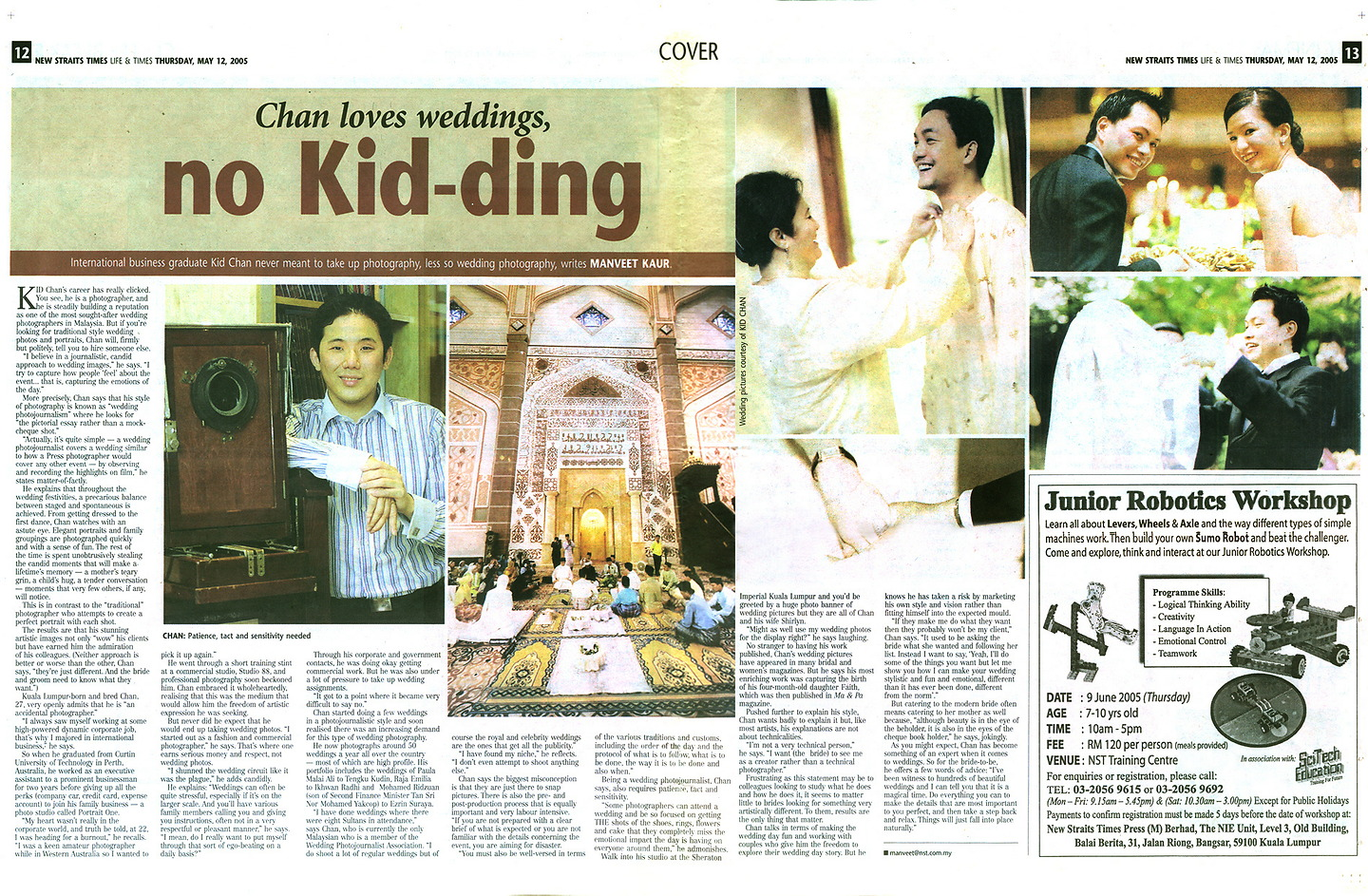 New Straits Times, Life & Times May 2005: 'Chan Loves Weddings, No Kid-ding'