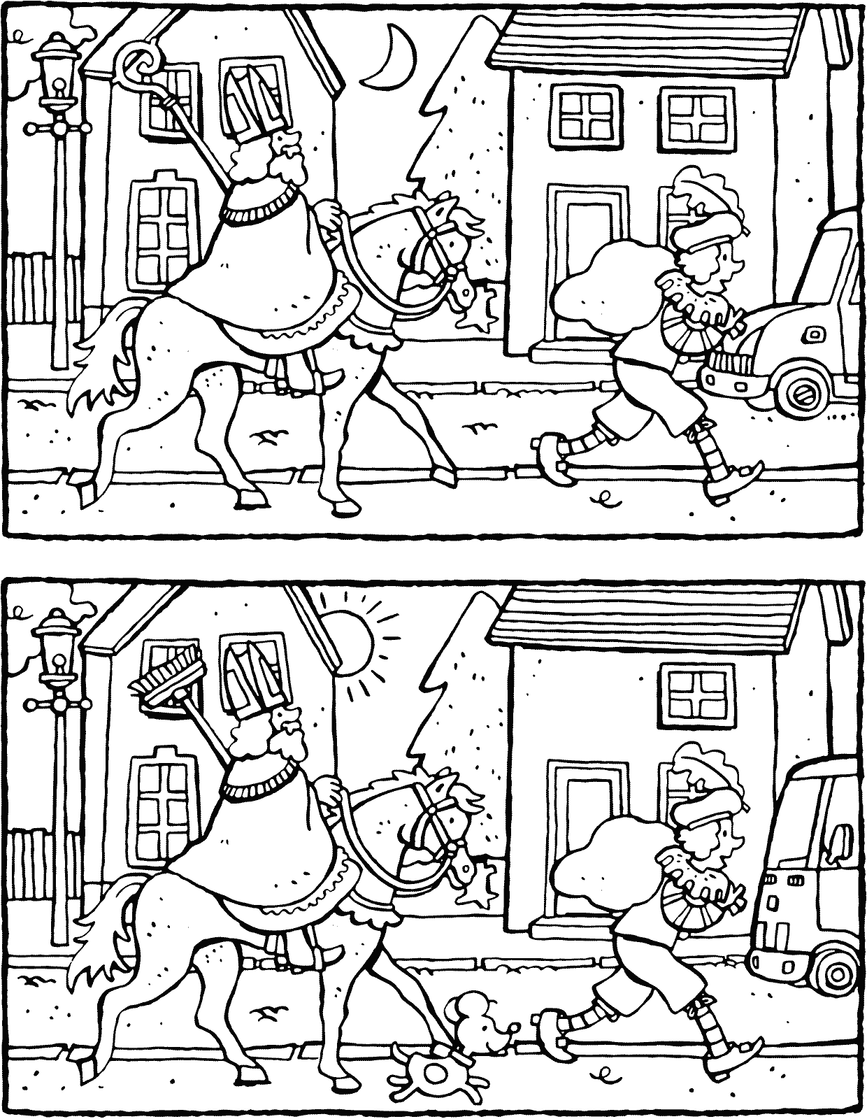 Spot The Difference Colouring Pages