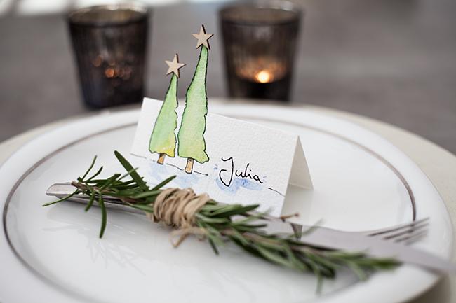 Namensschilder und Tischkrtchen fr Weihnachten