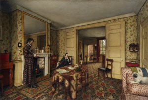 A CHELSEA INTERIOR by Robert Tait, 1857, in the Parlour at Carlyle's House, 24 Cheyne Row, London.