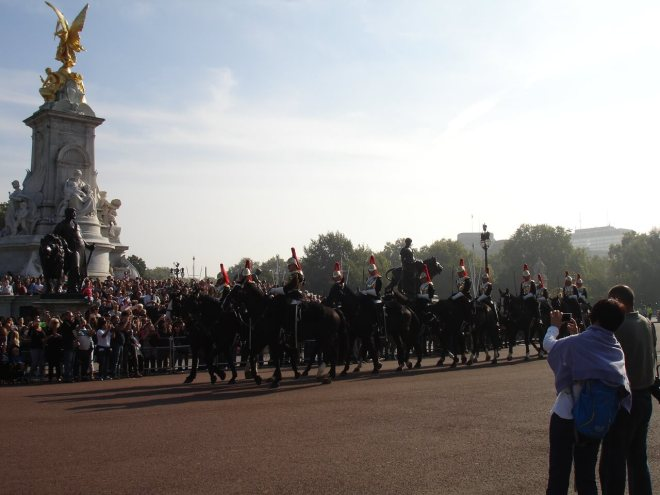Household Cavalry changing the guard at Buckingham Palace