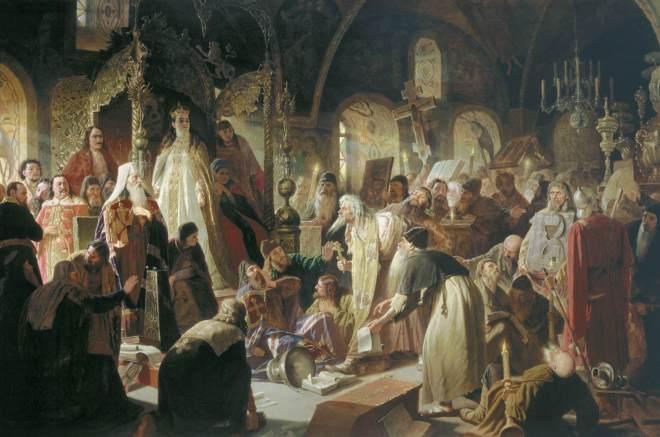 Perov's Dispute on Faith at Tretyakov Gallery