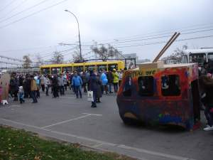 3D cardboard painted trolleybus at the trolleybus parade 2015