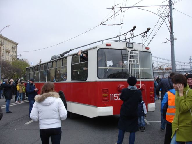 Red and white trolleybus at the trolleybus parade