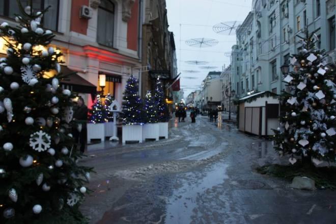 Christmas trees and slush Moscow 2015