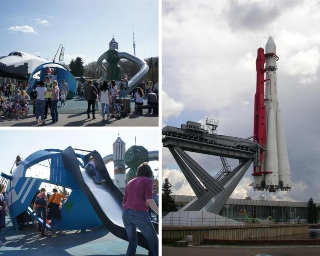 Rocket space shuttle and playground at VDNH Moscow