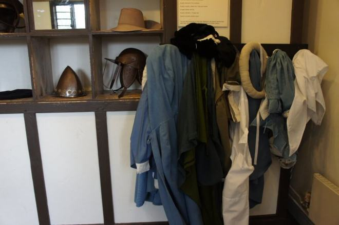 Dressing up and helmets at the Oliver Cromwell House Museum